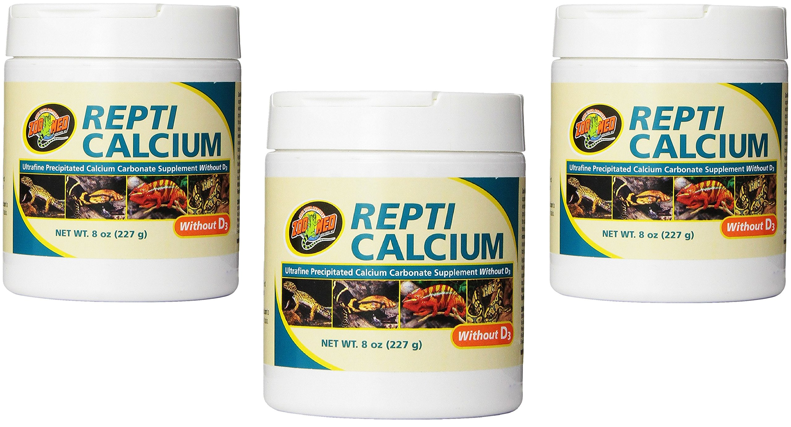 (3 Pack) Zoo Med Reptile Calcium without Vitamin D3, 8-Ounce