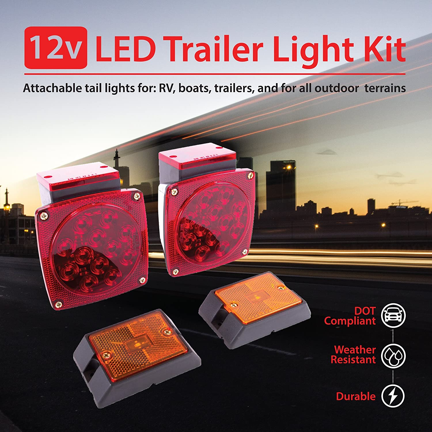 for All Outdoor terrains Marine Trailer Submersible Tail Lights for: RV Boat Wellmax 12V LED Trailer Light Kit DOT Compliant WM51084 Utility Bulbs for Easy Assembly