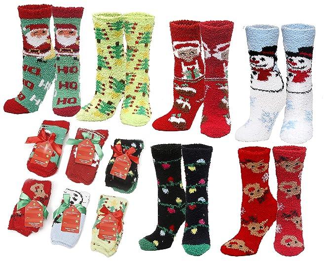 Christmas Fuzzy Socks.Fuzzy And Soft Holiday Christmas Slipper Gift Socks 6 Pack Size 9 11