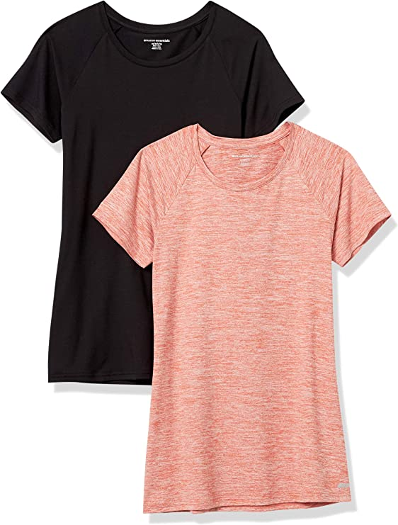 Amazon Essentials Women's Cap-Sleeve Tech Stretch 2-Pack T-Shirt: Clothing