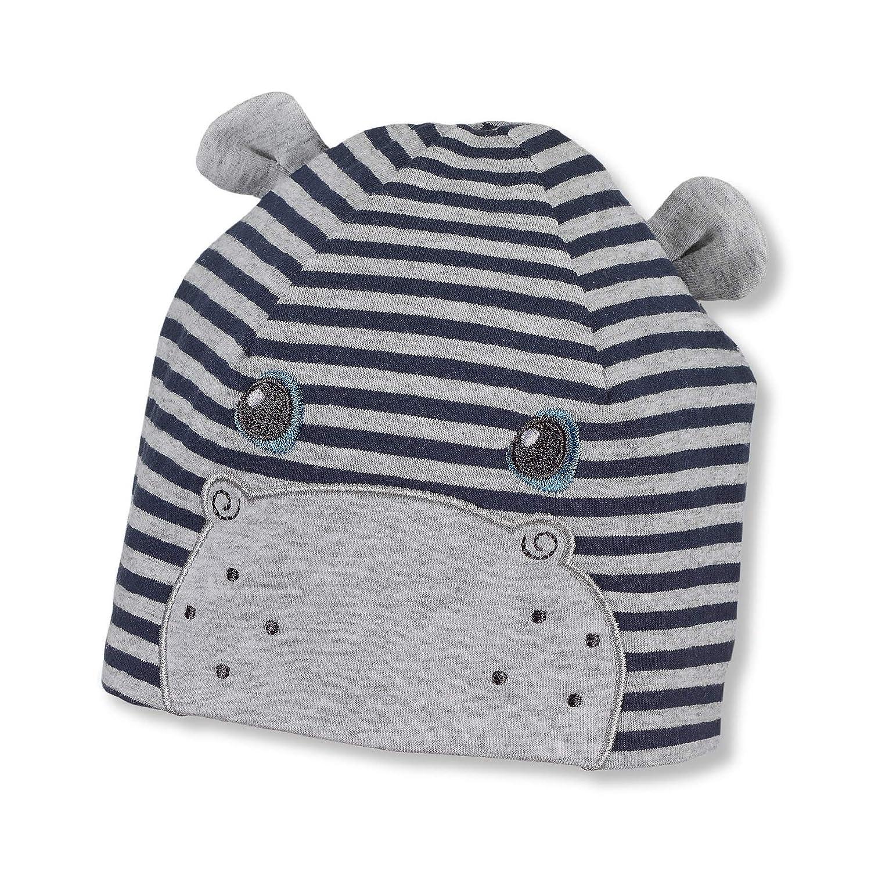 Sterntaler Bonnet Beanie  avec dessins dhippopotames pour gar/çons Taille: 49 Bleu Marine Age: 12-18 mois