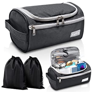 Travel Toiletry Bag – Small Portable Hanging Cosmetic Organizer for Men Women, Makeup, Toiletries, Hygiene Accessories, Shaving Kit, Clippers and Grooming Tools, Waterproof, Bathroom, Shower, Gym