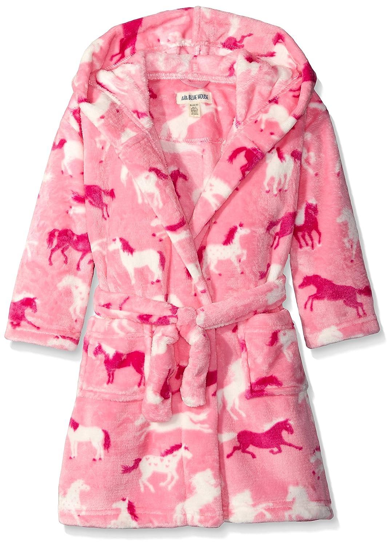 Hatley Mädchen Kleid Kids Fleece Robe-Hearts & Horses