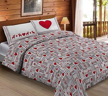 Lenzuola Matrimoniali Con Cuori.Completo Lenzuola In Cotone Cuori Appesi Cuore Colore Rosso Cupido