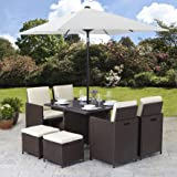 Bella Life Rattan Cube Garden Furniture Set 8 seater outdoor 9pcs with Parasol (BROWN RATTAN WEAVE)