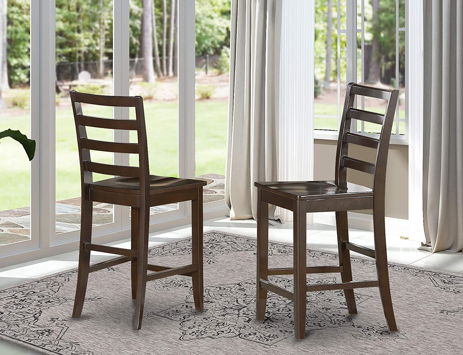East West Furniture Wood Seat Stool Set with Ladder Back, Set of 2, Cappuccino Finish