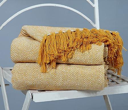 EHC algodón Mantas para sofá Silla Manta, Beige, 125 x 150 cm, Color único, Pack de 2, algodón, Beige, 125 x 150 cm/Single: Amazon.es: Hogar