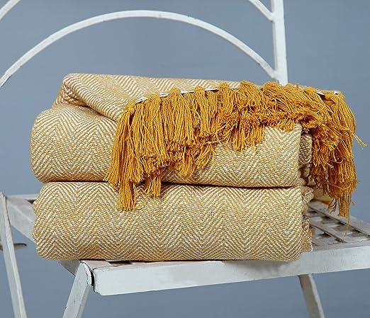 EHC algodón Mantas para sofá Silla Manta, Beige, 125 x 150 cm ...