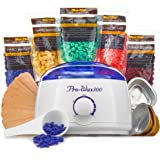 Wax Warmer (Heater) Hair Removal Kit The Greatest Value For The Money with 5 Pack of Hard Wax Beans (Beads), Wooden Spatulas (20 pcs), 3 Small Bowls, 20 Body Wax Strips, 1 Wax Spoon