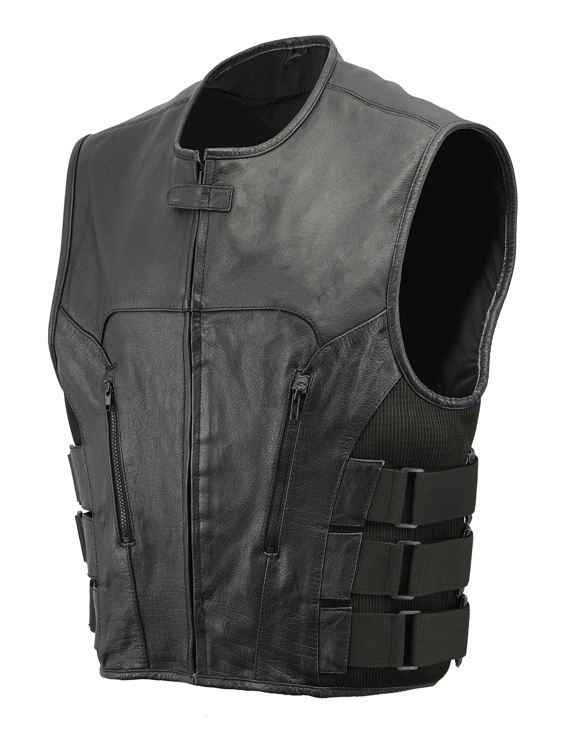 Men's Leather SWAT Style Vest | Premium Natural Buffalo Leather | Patch Access Lining, New Outseam Gun Pocket, Adjustable Side Straps, Zipper Front Closure | Black Biker Vest (Black, 3X-Large)