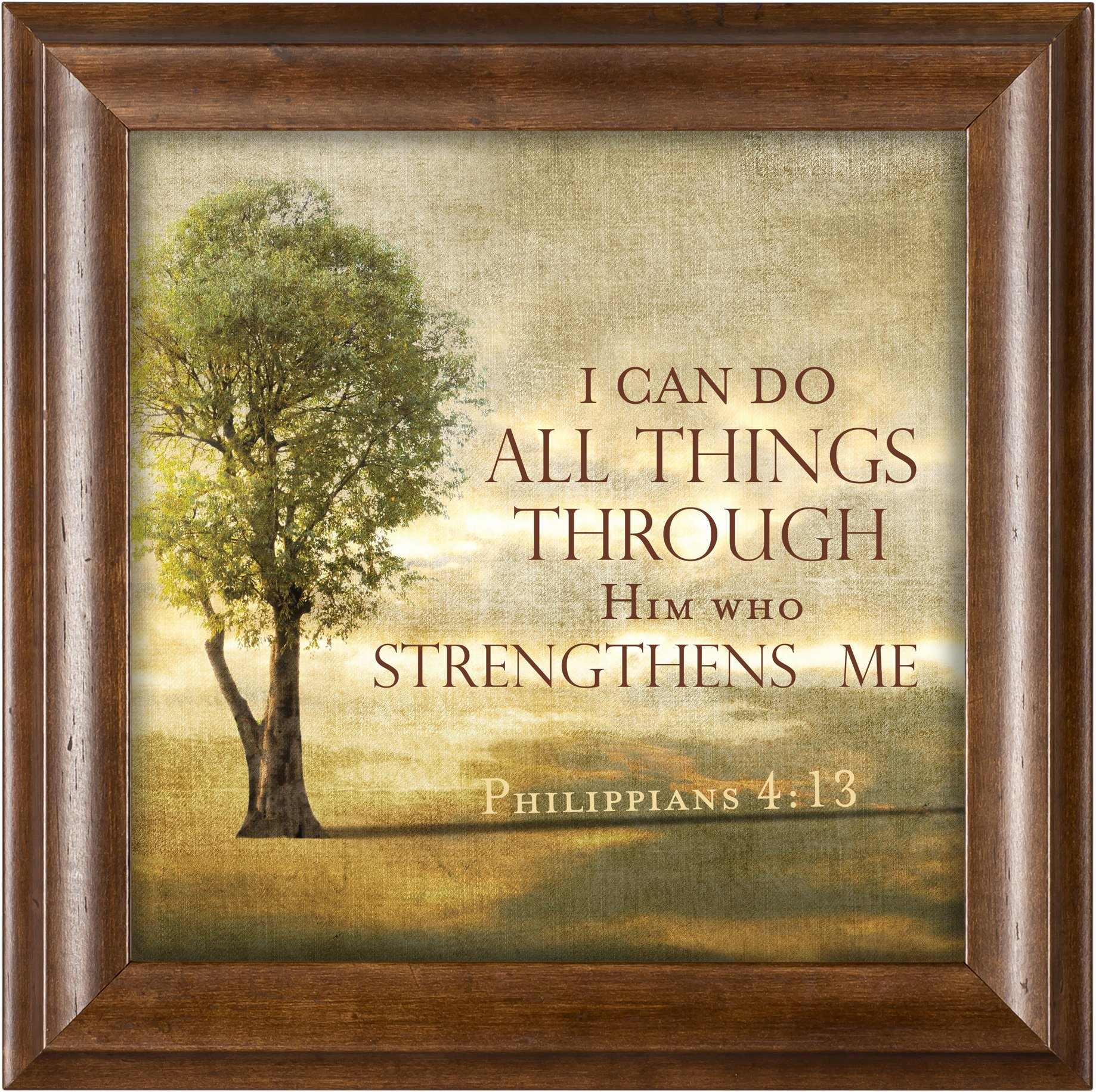 Him Who Strengthens Me Tree on a Hill Phil. 4:13 Wood Finish 12 x 12 Framed Art Wall Plaque by Elanze Designs
