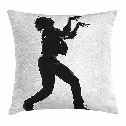 Michael Jackson Decoración manta almohada cojín por Ambesonne, famoso Zombie Walk baile jóvenes talentos adolescente