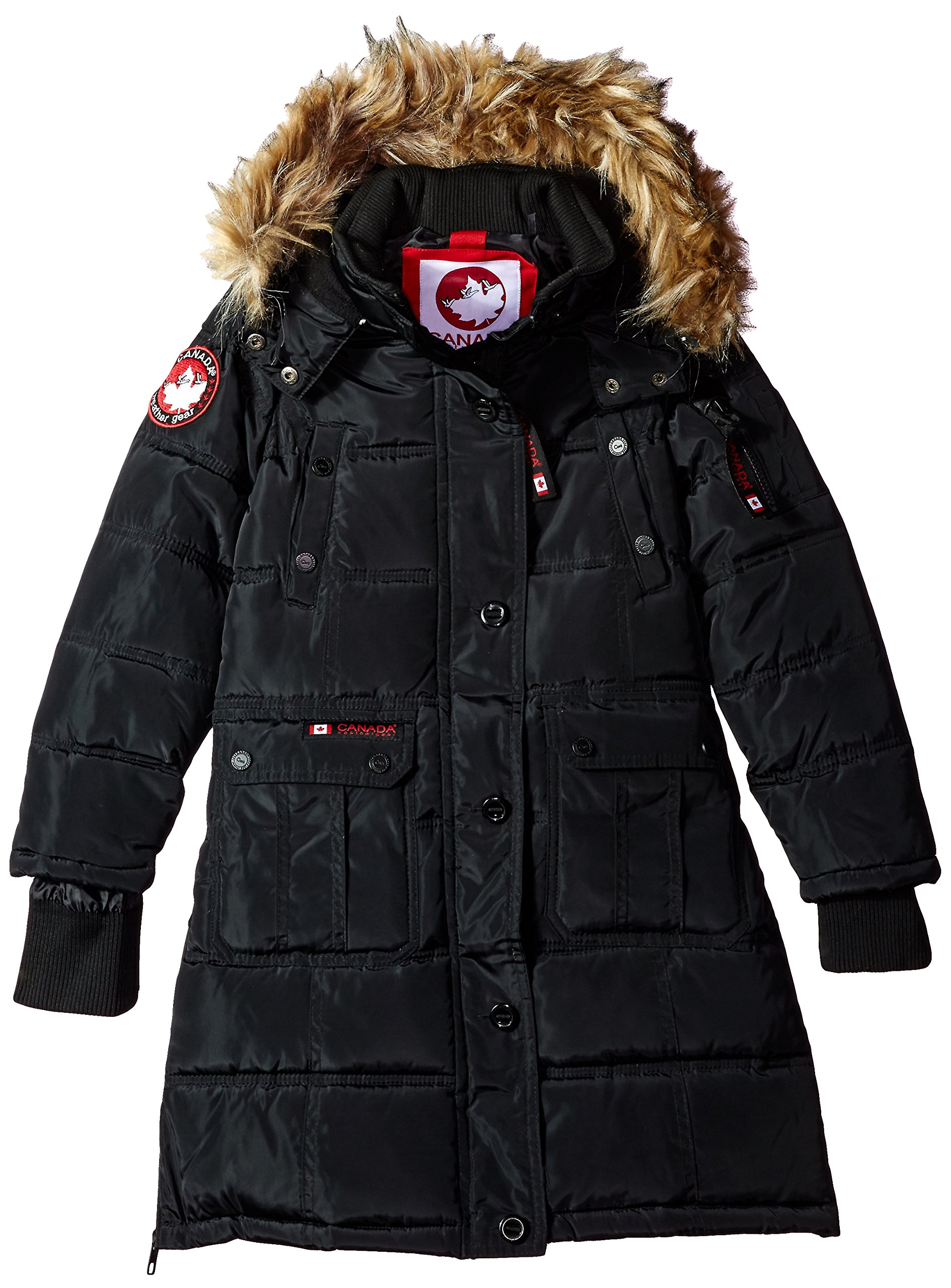 Canada Weather Gear Big Girls' Outerwear Jacket (More Styles Available), Hooded Stadium-CW055-Black, 7/8
