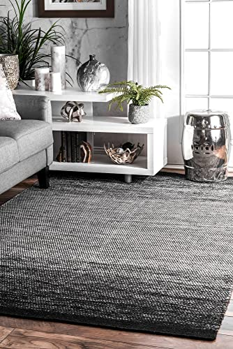 nuLOOM Desantis Flatweave Ombre Wool Rug, 7 6 x 9 6 , Black and White