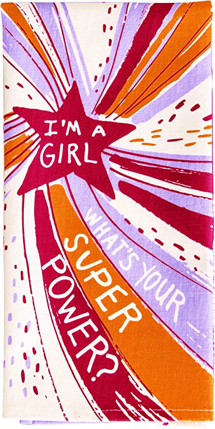 """What's Your Super Power?/"""" Blue Q Dish Towel /""""I'm A Girl"""