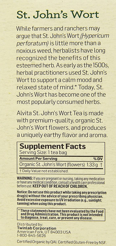 Amazon.com: Alvita Tea Organic St. Johns Wort Herbal Tea Bags, 24 ...