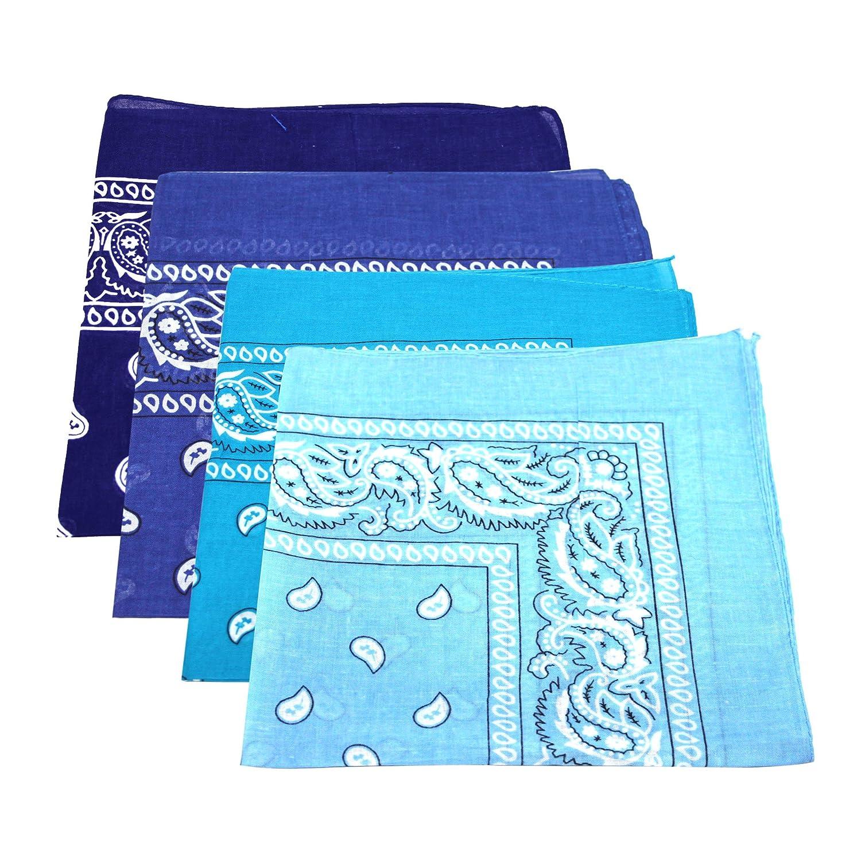4 Unisex Paisley 100/% Cotton Bandanas Aqua Navy Baby /& Royal Blue Scarf Bandana