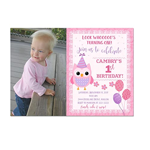 Amazon Owl 1st Birthday Invitation With Photo In Pink And