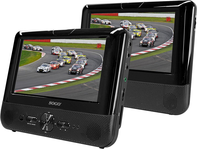SOGO DVD-SS-9745 - Reproductor DVD portátil LCD Pantalla Dual de 7