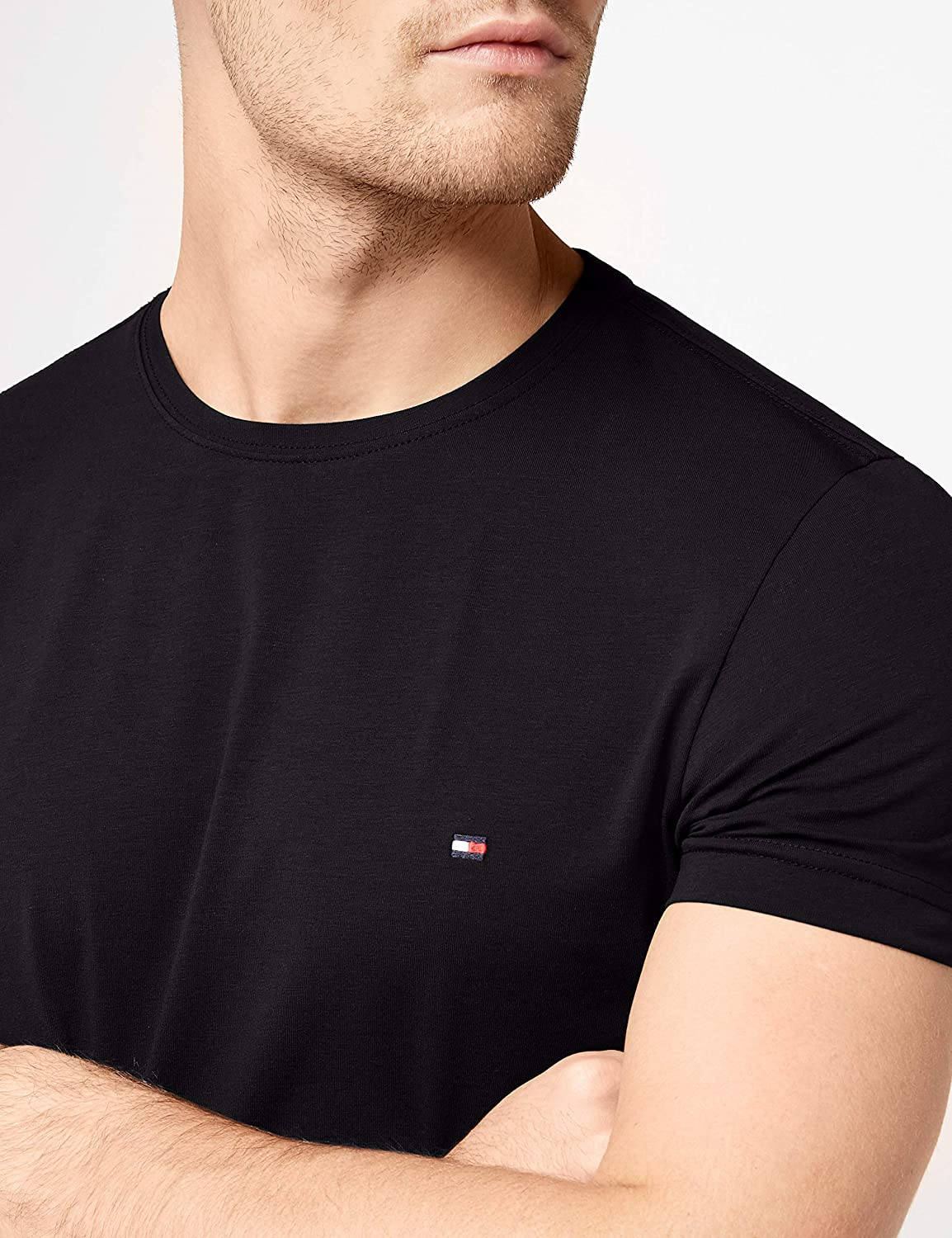 5f83c55c3e2bf Tommy Hilfiger Men s s Core Stretch Slim Cneck Tee T-Shirt White  Tommy  Hilfiger  Amazon.co.uk  Clothing