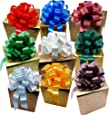 "Big Decorative Gift Pull Bows, Assorted Solid Colors - 8"" Wide, Set of 9, Red, Green, Blue, White, Gold, Silver"