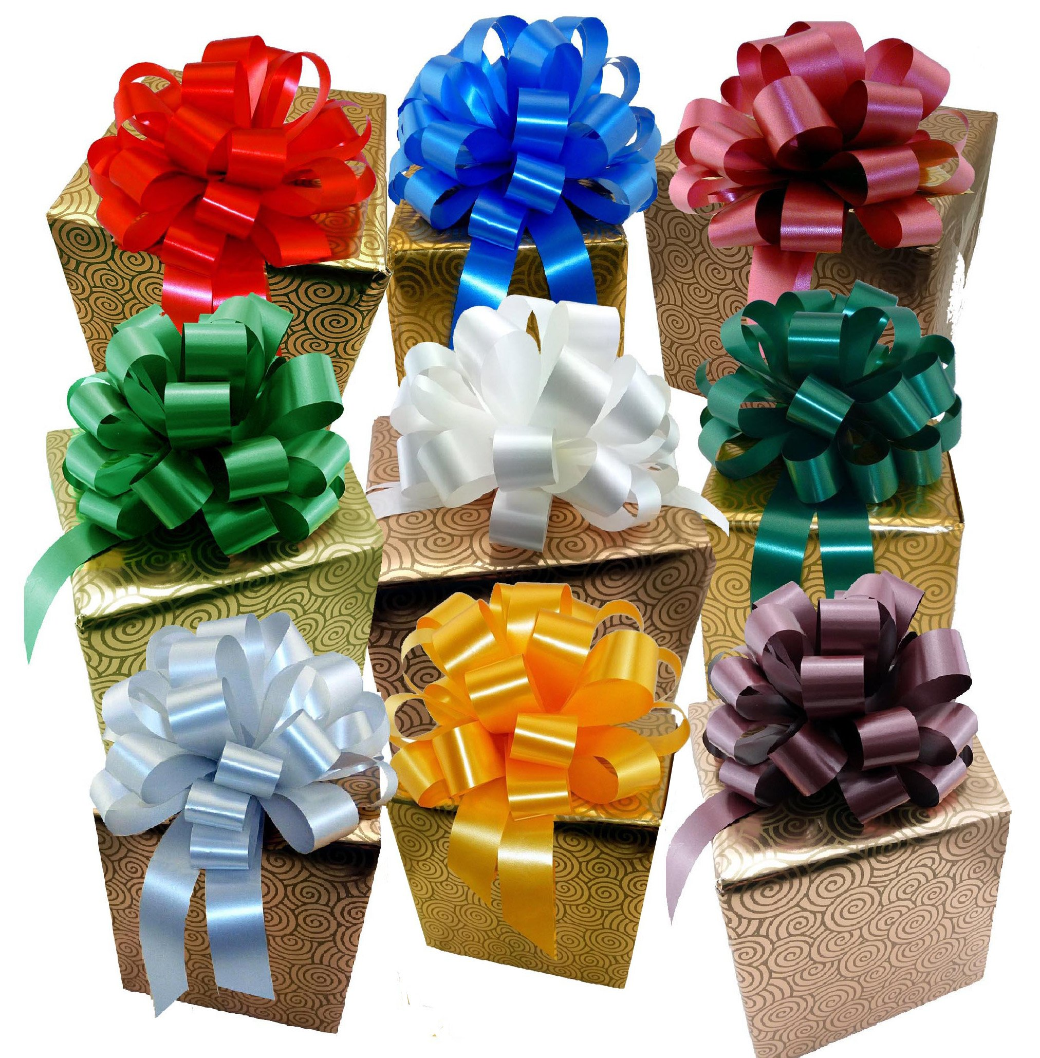 """Big Decorative Gift Pull Bows, Assorted Solid Colors - 8"""" Wide, Set of 9, Red, Green, Blue, White, Gold, Silver"""