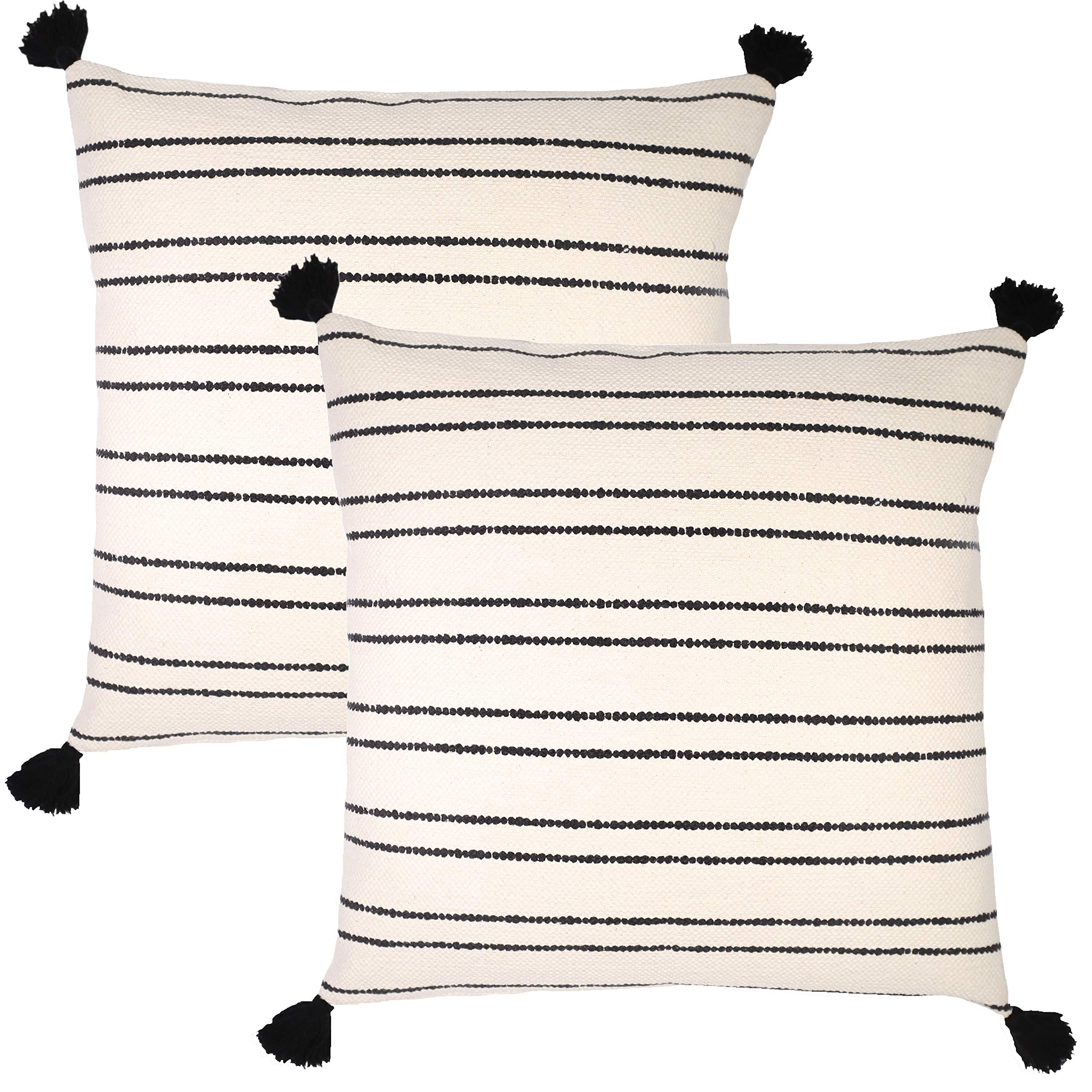 Woven Nook Decorative Throw Pillow Euro Size Covers ONLY Set of 2 24 x 24'' for Couch, Sofa, or Bed Modern Quality Design 100% Thick Weave Cotton Black and Cream/Off White Demi by Woven Nook