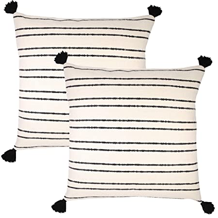 Woven Nook Decorative Throw Pillow Euro Size Covers ONLY Set of 2 24 x 24 for Couch, Sofa, or Bed Modern Quality Design 100 Thick Weave Cotton Black and Cream Off White Demi