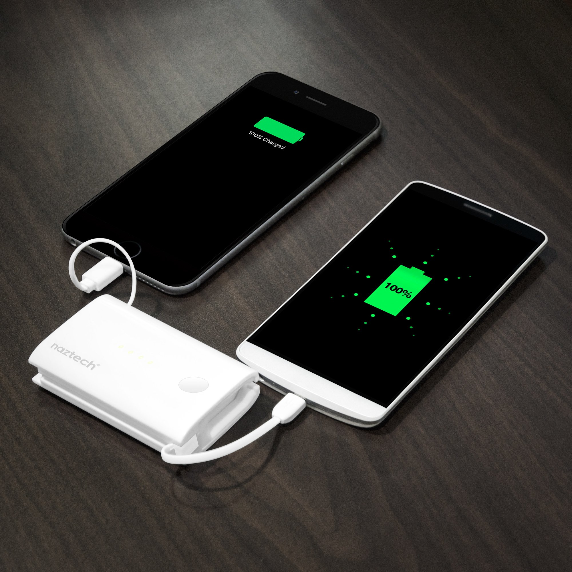 Naztech PB5000i Pocket Power Bank 5000mAh Capacity Portable Charger, 2 Built-in Cables: Apple MFi Lightning AND Micro USB, Universal Compatibility, Compact Battery, Simultaneously Charge 2 Devices by Naztech (Image #5)