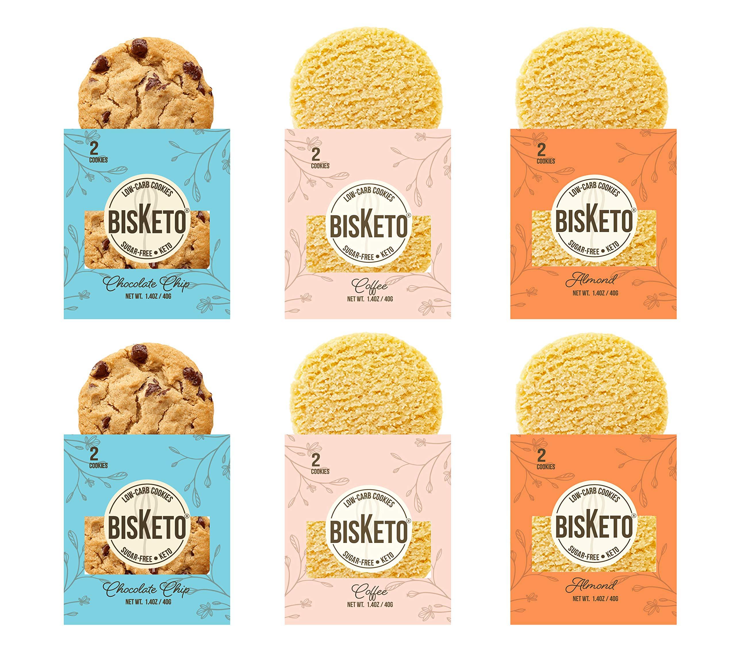 Low Carb Cookies BisKeto - Keto Snacks, Low Net Carbs, No Sugar, Gluten & Grain Free - Box with 6 Packs,12 Cookies (Variety Joy) - Ketogenic Diet Friendly & Healthy Snack Food by BisKeto