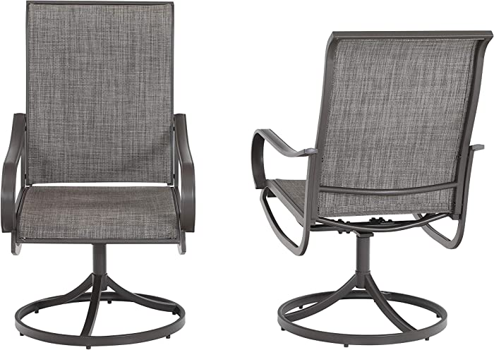 Sophia & William Patio Dining Chair Set of 2 Metal Rocker Swivel Chair Outdoor Furniture for Lawn Garden Backyard Sling Mesh Weather Resistant
