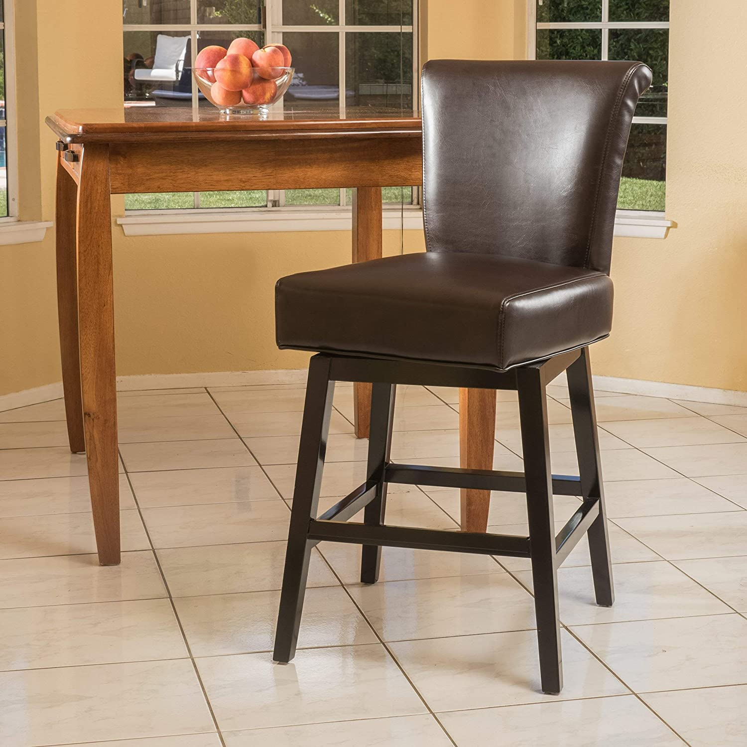 Christopher Knight Home Bergen Dark Brown Leather Swivel Counter Stool, 19.5 W25 D 41 H
