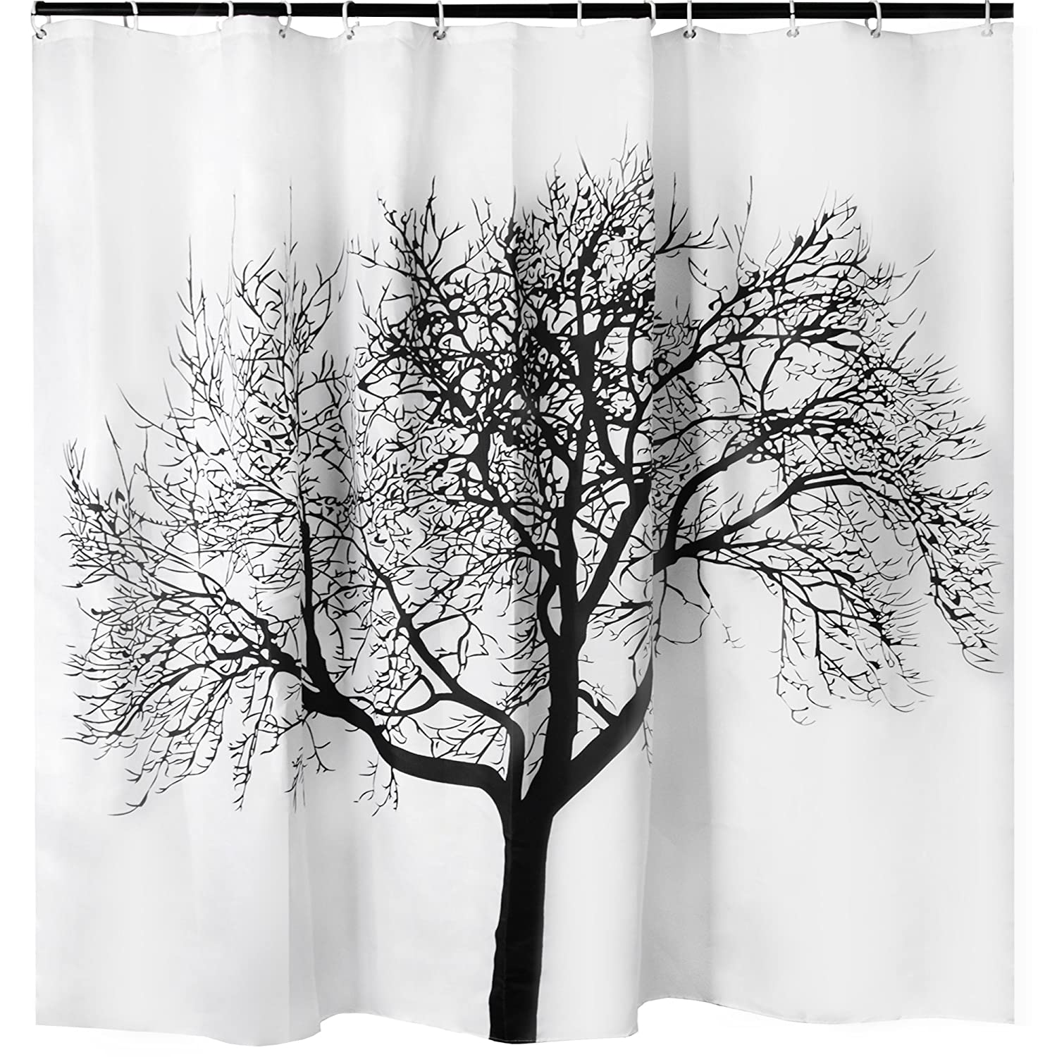 Large Shower Curtain With Tree Design Waterproof Odorless Eco Friendly White Polyester Shower Curtain Creatov design SYNCHKG084823