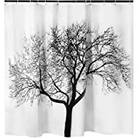 Tree Shower Curtain Mildew Resistant - 72x72 Tree Design Decor Waterproof Odorless Eco Friendly Anti Bacterial Bath Curtains Liner Decorative Fabric for Bathroom Heavy Duty Rustproof Metal Grommets