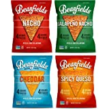 Beanfields Bean Chips, High Protein and Fiber, Gluten Free, 4 Flavor Vegan Cheese Snack Pack: Jalapeño Nacho, Nacho, Cheddar Sour Cream, Spicy Queso, 1.5oz (Pack of 24)