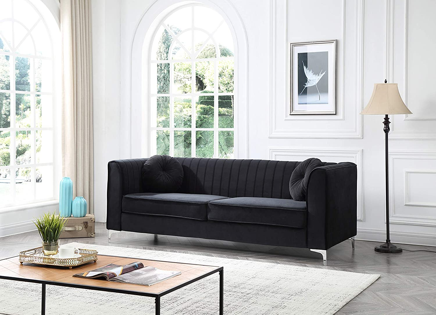 Glory Furniture Delray G793A-S Sofa, Black. Living Room Furniture, 32