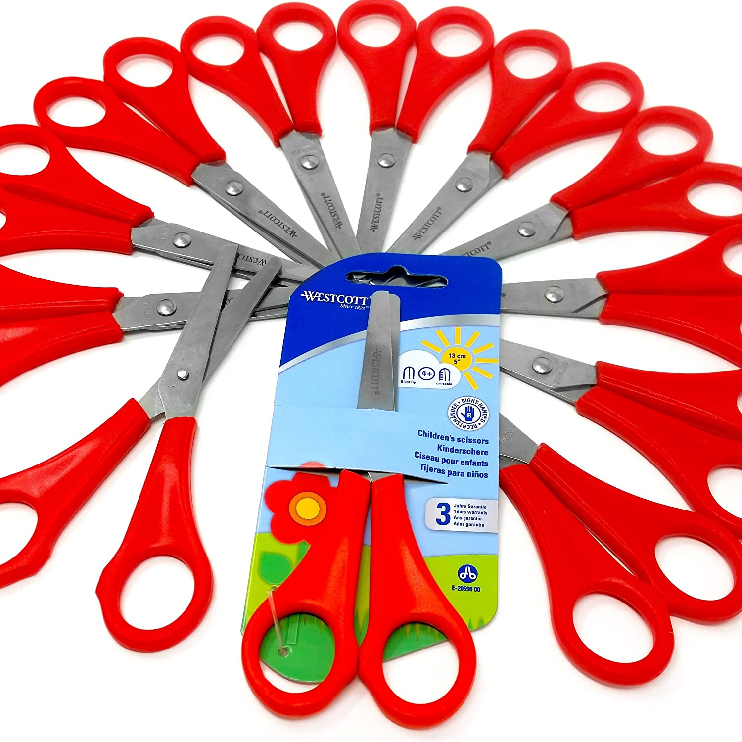 12 x Children's / Kid's Red Right Handed Scissors with Ruler Edge - Westcott Branded Blister Pack - [E-20590 00]