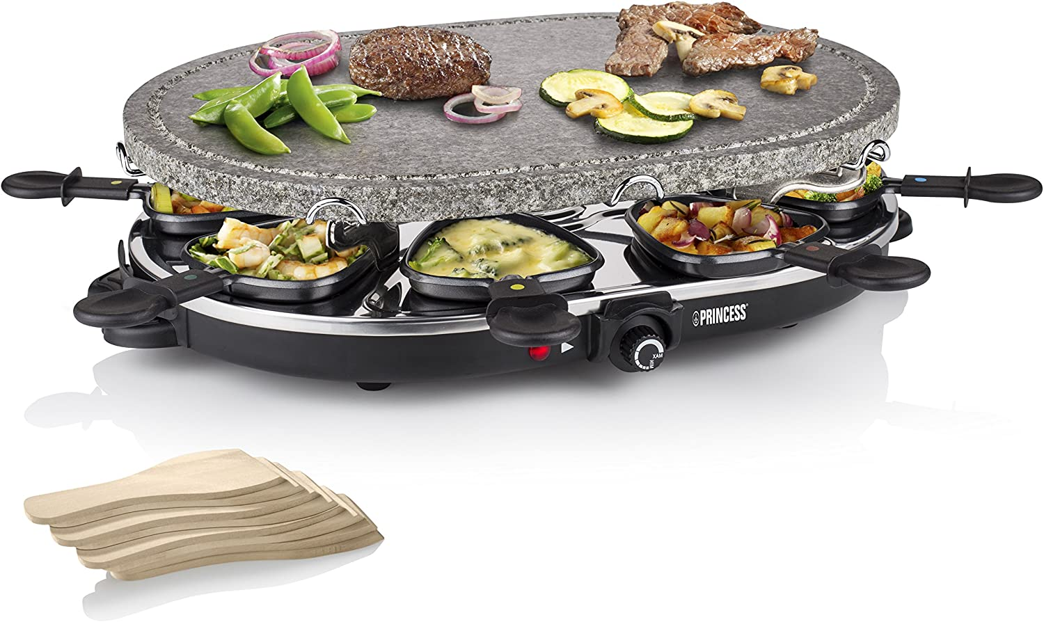 Princess 162720 - Parrilla para 8 Personas, Piedra Oval y Raclette Party