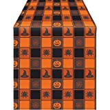 Aneco Halloween Table Runner Halloween Cotton Black Orange Check Plaid Table Runner for Halloween Indoor Outdoor Events…