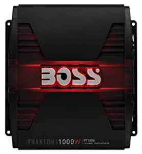 BOSS Audio PT1000 Phantom 1000 Watt, 2 Channel, 2/4 Ohm Stable Class A/B, Full Range, Bridgeable, MOSFET Car Amplifier with Remote Subwoofer Control