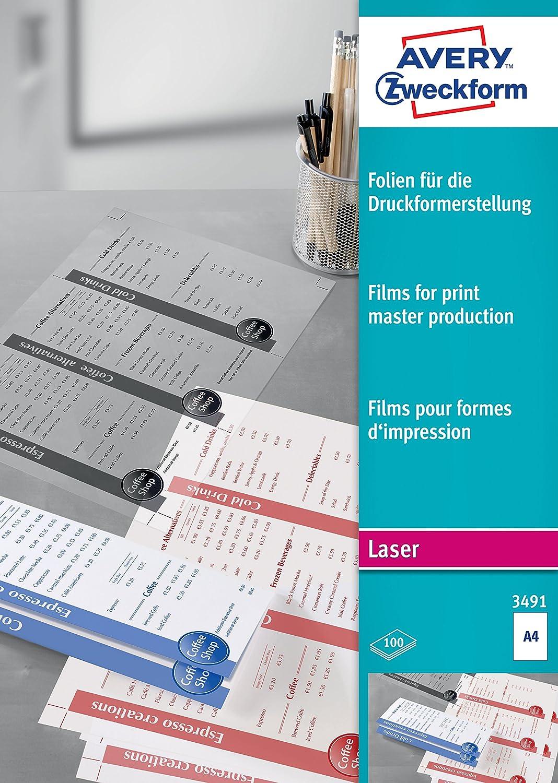 Avery Zweckform, 3491, 100 Fogli, Foglio trasparente opacizzato per stampanti laser Avery Tico Srl