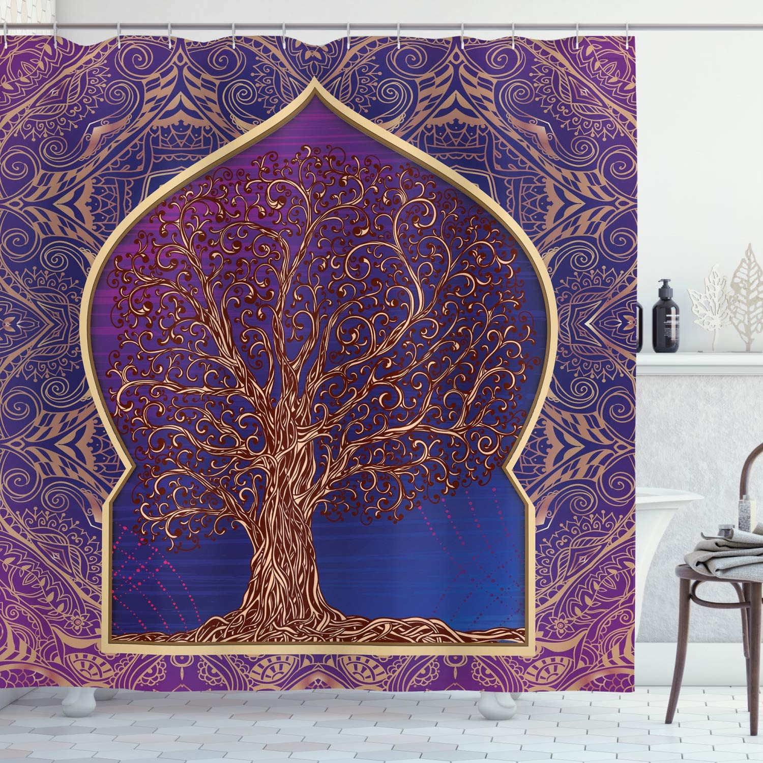 Ambesonne Ethnic Shower Curtain, Tree with Curved Leafless Branches Middle Eastern Moroccan Arch Retro Art Design, Fabric Bathroom Decor Set with Hooks, 70 Inches, Purple Blue
