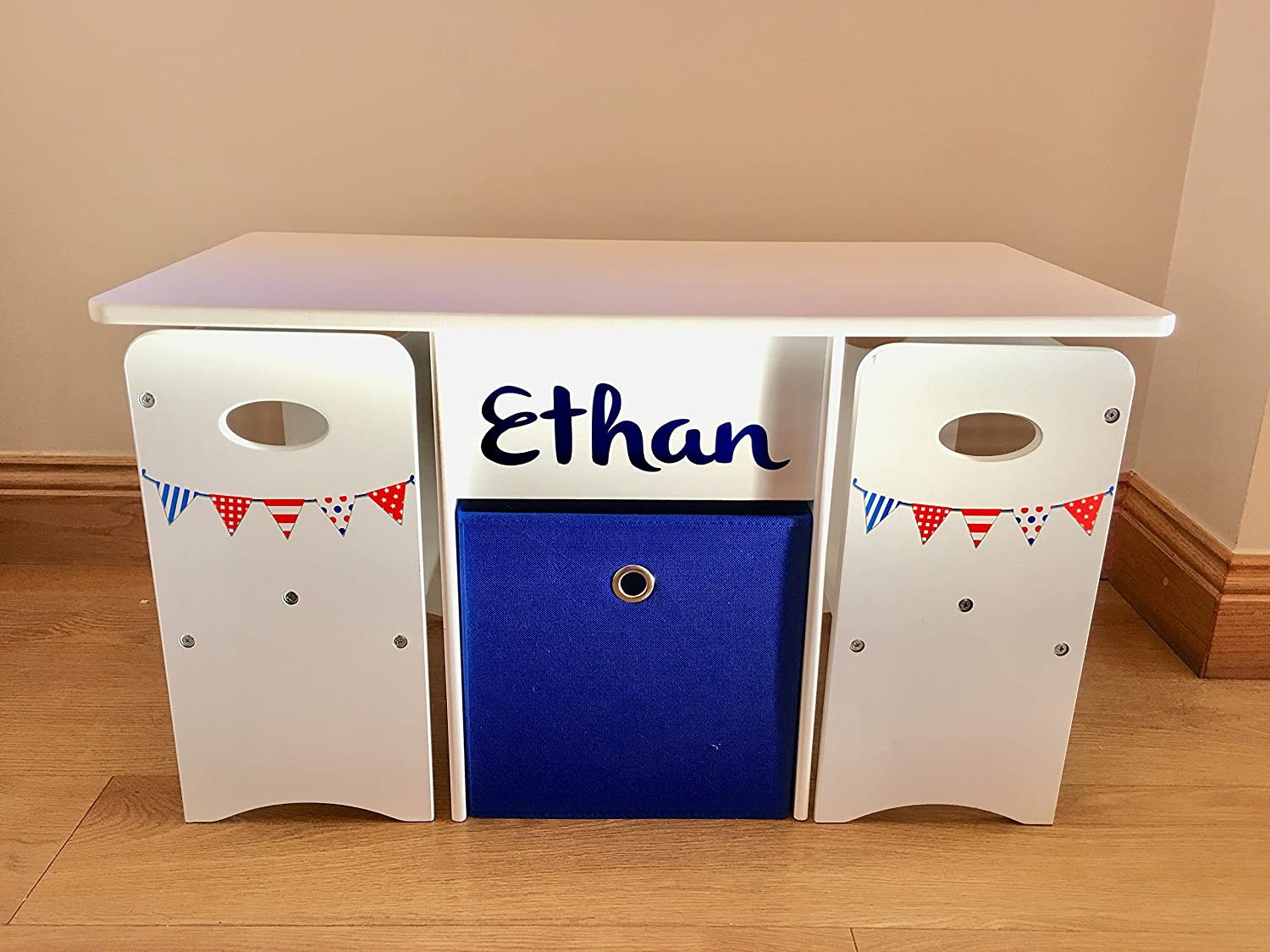 Sort the Kids Children Play Table & Chairs With Storage Box Personalised in Red white & Blue Bunting (Red text & box) Whenzou Times