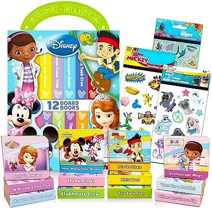Disney Juego De Bloques De Libros Para Niños Pequeños De 1 A 12 Años Diseño De Disney Junior My First Books Con Pegatinas Con Mickey Mouse Minnie Mouse Y Más Mx