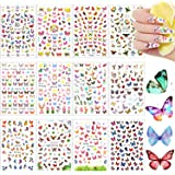 24 Sheets Butterfly Nail Art Stickers Colorful Butterfly Flower Nail Stickers Mixed Design Self-Adhesive Nail Decals…
