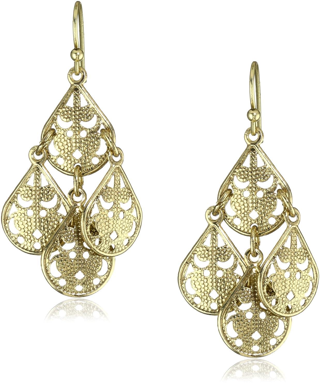 Com 1928 Jewelry Brass Filigree Teardrop Chandelier Earrings Drop