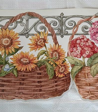 Flower Baskets Gardening Kitchen Country Wallpaper Border