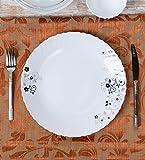 Diva From La Opala Mystrio Black Opalware Dinner Plate Set, 6-Pieces, White