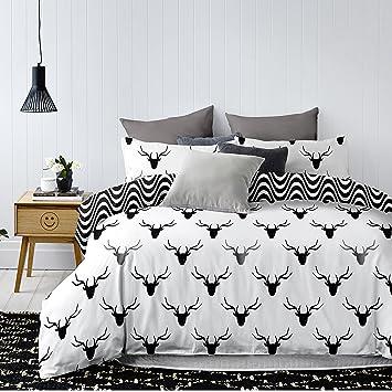 decoking 85127 bettwsche 200x220 cm mit zwei kissenbezgen 80x80 schwarz wei grau anthrazit graphit stahl geometrisches - Bettwasche Muster