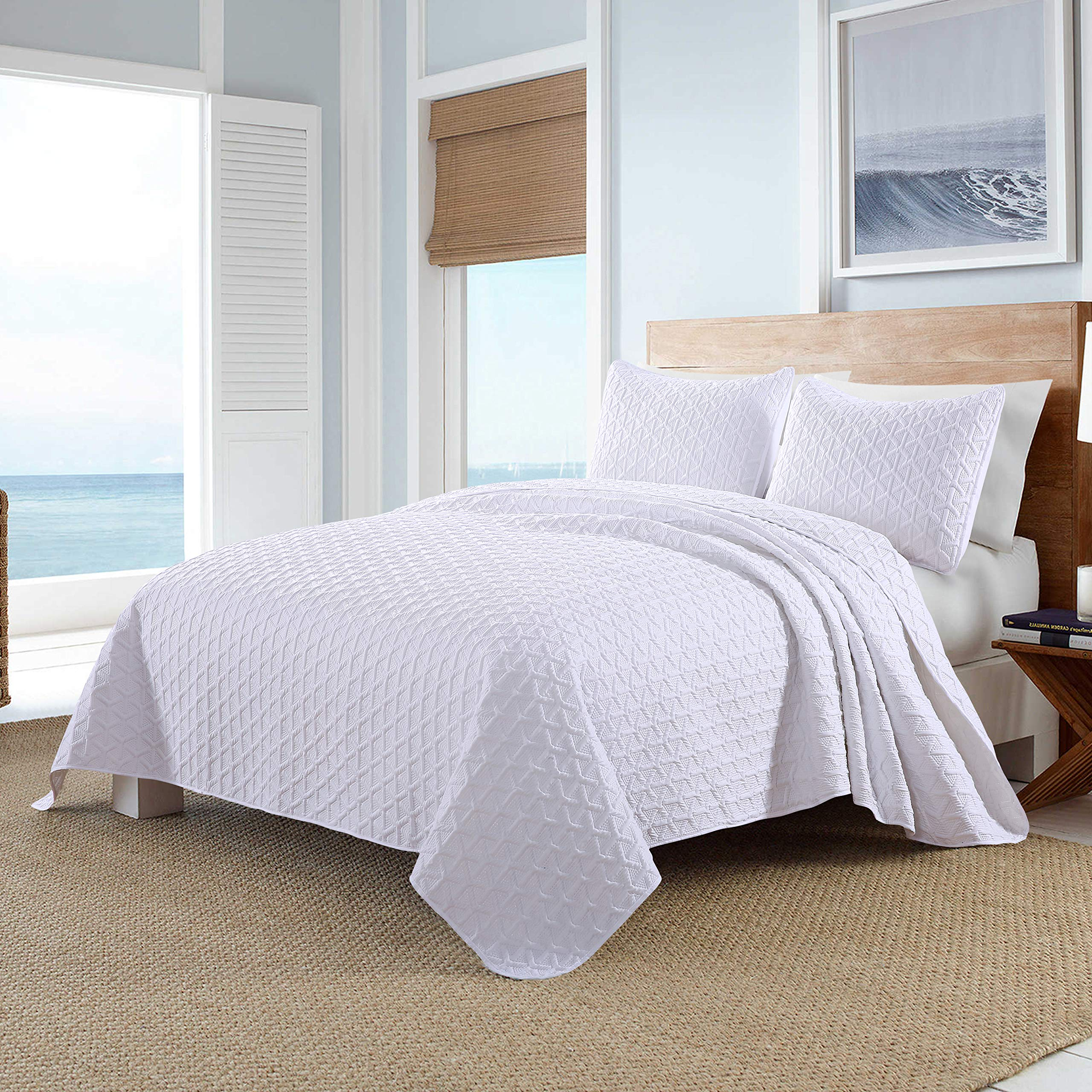 Pioneer Home Textile Olivia 3-Piece Ultrasonic Quilt Set, Brushed Microfiber, Soft and Breathable, Lightweight, King, Bright White
